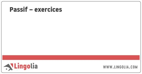Passif – exercices