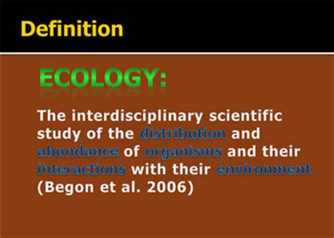 Ecology: Definition and Scope Document