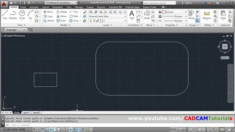 AutoCAD Draw Rectangle with Dimensions & Rounded Corners
