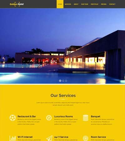 Golden Hotel Website Template Free Download - WebThemez