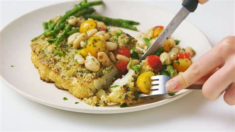 Watch Herb-Crusted Cauliflower Steaks with Beans and